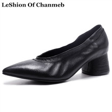 comfort full grain leather pumps women thich heels black white high heeled shoes woman pointed toe pump female autumn shoes 2017