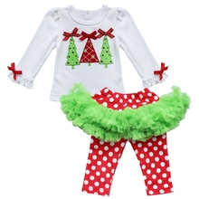 2017 Lovely Baby Girls Xmas Outfits Christmas Tree White Shirt top Polka Dots leggings Pants Tutu Skirt Dress kids Clothes 0-3Y(China)