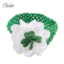 Boutique St. Patrick's Day Headband Children Cute White Flower With Crochet Elastic Headbands Kids Hair Accessories()