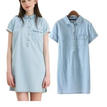 2017 women clothing solid color short sleeve loose washed shirt denim dress female casual brief mini jeans dresses XC1633