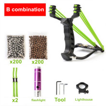 Hot 3 Rubber Bands Professional Alloy Outdoor Adult hunting slingshot with 200pcs Steel Balls and accessories With flashlight(China)