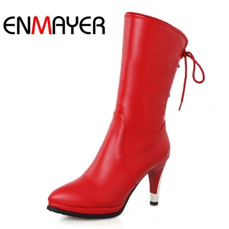 ENMAYER  Big Size34-43 Mid-Calf Thin Heels High Boots Shoes Women Soft Leather Women Platform Boots Black Green  Wedding Boots<br>