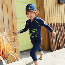 Sun Protective Shark Blue Boys Rash Guards Kids Swimwears One Pieces Bodysuits Children Baby Swimming Suits W/Cap 2017 DEO
