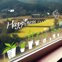 Removable Fresh Plant White Pot Green Flowers Wall Stickers Window Glass Wall Border Decals Bonsai Flowerpot Wallpaper Poster