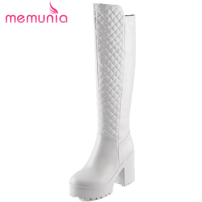 MEMUNIA 2017 Fashion Spell able zip plain dress knee high boots for women thick high heels boots round toe comfortable shoes<br>
