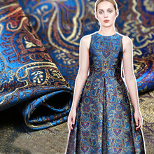Ethnic style royal blue peacock jacquard brocade fabric for dress coat tissue tela tecidos stoffen for sewing SP4559 FREE SHIP(China)
