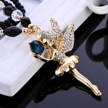 Fashion  Jewelry  Luxury Crystal Angle Wings Sweater Necklace Women Pendant Necklace Accessory Girl Friend Gifts SL