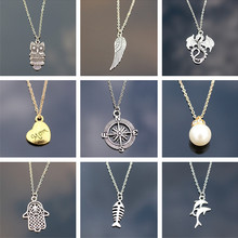 Necklaces Chain Link Cross Heart Owl Elephant Tree Leaf Pendant Necklace Mix Design For Women Girl Gift Fashion Jewelry 2017(China)