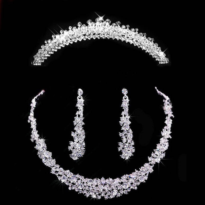 Necklace-Set Earring Tiara Hair-Ornaments Bridal-Jewelry-Sets Crown Crystal Rhinestone title=