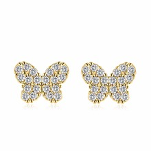 1 pair Gold Color Baby Earrings Clear Butterfly Zircon CZ Anti-Allergic Stud Earrings Jewelry for Children Girls Baby Kids