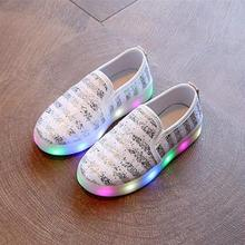 New Fashion Child Spring Casual Shoes Flash LED Light Up Sneakers Sequins Luminous Glowing Boots Toddlers Boys Girls Sport Shoes