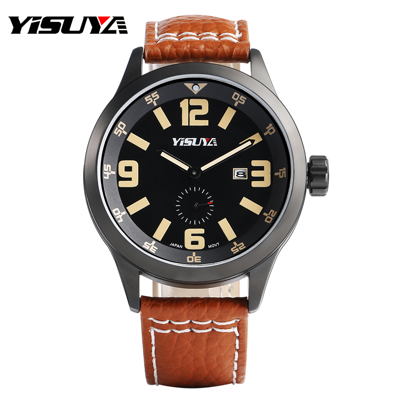 YISUYA Wrist Watches Luxury Men Pilot Japan Quartz Movement Military Outdoor Date Genuine Leather Band  Cool Sub Second Dial<br><br>Aliexpress