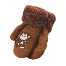 Cute Monkey Pattern Kids Thick Gloves Infant Baby Girls Boys Winter Warm Gloves for Children Glove(China)
