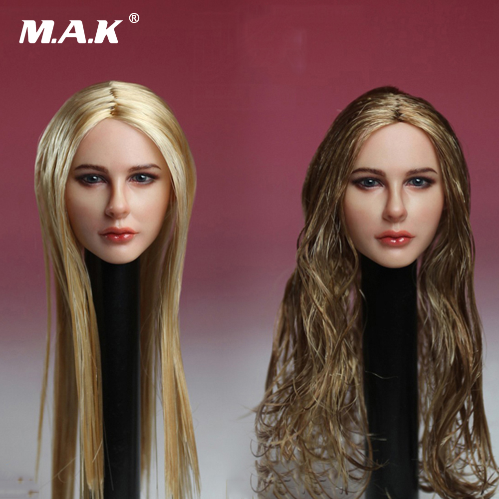 1/6 Female Head Carving Avril Lavigne Blonde Hair Girl Head Chloe Moretz Head for 12 inches DIY Collections<br>