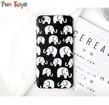 Fun Kays Cartoon Elephant Cute White Baby Animal Lovely Soft Slim Phonecase Black Thin Back Cover Fashion Protective Shell(China)