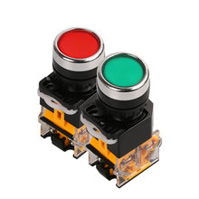 LA38-11 push button switch Self-reset button switch hole diameter 22mm red and green/machine/electric control cabinet fittings