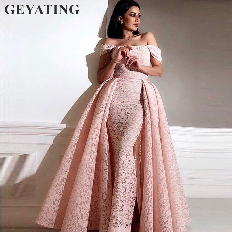 Elegant Long Pink Lace Mermaid Arabic Evening Dress 2019 Kaftan Dubai Prom Dresses with Detachable Skirt Women Formal Party Gown