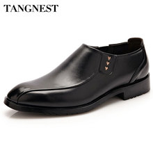 Tangnest Men Business Shoes Men Fashion Round Toe Loafers Male Patent Leather Slip-on Flats Man Wedding Shoes Brown Black XMP689(China)