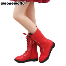 WEONEWORLD 2017 Autumn and Winter Girls Tall Leather Snow Boots Children Kids Boots Child Snow Boots Children Leather Boots