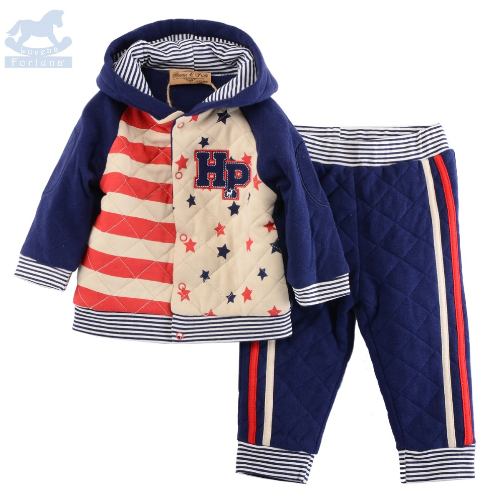 Luvena  Fortuna 2017 Autumn Winter New England Style Baby Boys HP  Wadded Marl Hooded Jacket  And Pant Sets G8136<br>