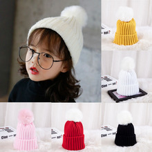 Cute Baby Hat Wool Knitted Children's Hats Winter Pearl Girls Cap Infant Caps(China)