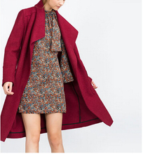 2015 Winter New ZA Ladies Fashion Long Burgundy Wool Loose Wrap Oversize Coat Cardigan Draped Lapel Collar Side Pockets(China)