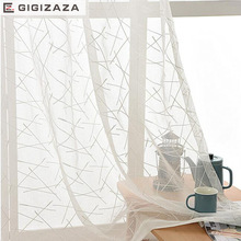 GIGIZAZA New geometric white embroidery voile curtains for livingroom rod pocket tulle drape window sheer ready made custom size