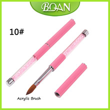 BQAN Pink Rhinestone Handle Pure Kolinsky Nail Oval Brush Acrylic Nail Brush 10#(China)