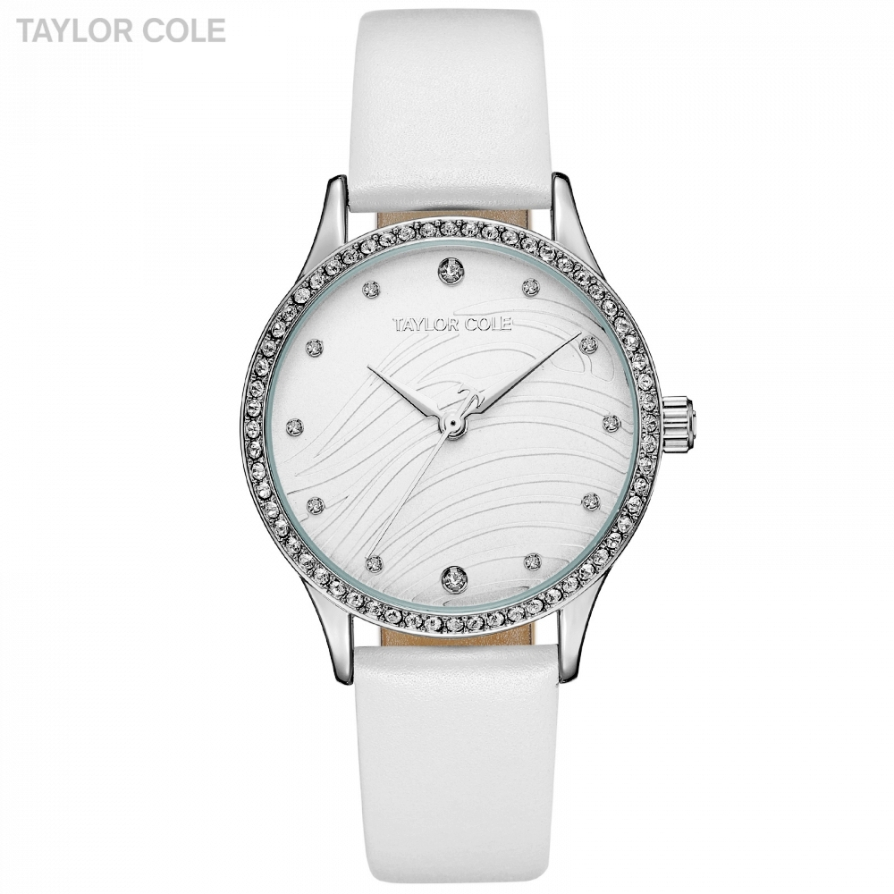 Taylor Cole Wrist Watches for Women Reloj Mujer Round Silver Crystal White Watchband Clock Womens Watches Horloge Dames / TC103<br>