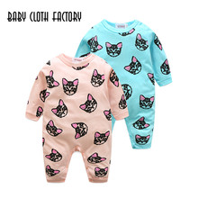 Newborn Baby Boy Girls Clothes Infant Romper Long Sleeve Kitty Pattern Baby Girl Rompers Jumpsuit Pajamas Baby Clothing 1-2Years