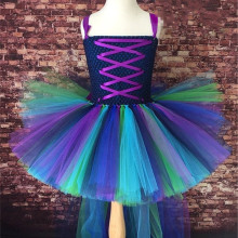 Gorgeous Girls Peacock Tutu Dress Trailing Girl Party Dresses Fluffy Baby Kids Pageant Birthday Performance Photograph Dresses(China)
