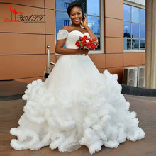 2017 New Arrival Cap Sleeves Bridal Pleats Ruffle White Ivory Plus Size African Bride Gown Ball Gown Dress Cloud Wedding Dresses