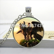 HZ--A529 New How to Train Your Dragon Necklace Movie Pendant Dragon Jewelry Glass Photo Cabochon Necklace