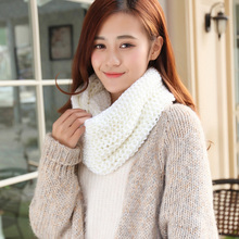 Keep Warm H-Qi Woolen Yarn Warm Winter Ring Scarf poncho Cute Women Girls Simple Casual Solid Color Shawls and Scarves Knitting