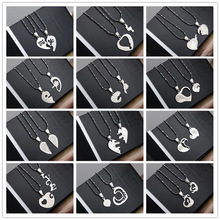 1 Pair Best Friends Love Couple Puzzle Stainless Steel Necklace Heart Angle Wing Heart Shape Pendants Gift For Friends
