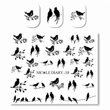NICOLE DIARY Cute Water Decals Black Bird leaves Pattern Manicure Nail Art Water Transfer Sticker DIY(China)