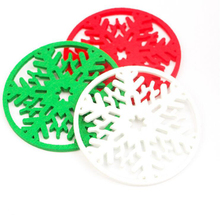 10pcs/lot Merry Christmas Snowflakes Cup Coaster Mat Xmas Decorations Dinner Party Dish Tray Pad for Home Decor free shipping