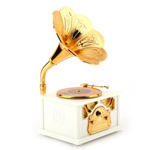 Music Box Retro Phonograph Shape As Gift Classic Gold Trumpet Horn Creative Crafts