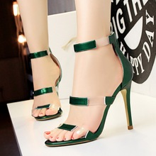 Buy 2018 Women Classic 10cm High Heels Fetish Transparent Pink Sandals Female Gladiator Summer PVC Shoes Lady Sexy Green Strap Pumps