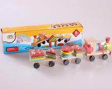 New design Kids Baby Developmental Toys Wooden Train Truck Set Geometric Blocks Baby Early Learning Toys wholesale