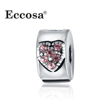 1Pcs Pink Crystal Love Heart Stoppers Clip Locks Charms European DIY Beads Silver Plated Bead Fit Pandora Bracelets&Necklaces