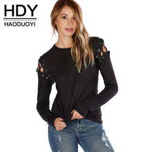 HDY Haoduoyi Solid Black Women Sexy Casual T-shirt Street Hollow Out Cold Shoulder Tops Autumn O Neck Lace Up Basic Tees