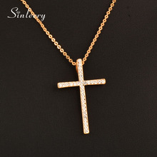 Gold color cross necklace for women costume jewelry(China)