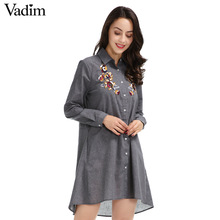 Women vintage flower embroidery long shirts sequined long sleeve turn down collar loose blouse pockets casual tops blusas LT1478