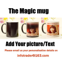 Dropshipping Custom Magic Color Changing Coffee Mug printing with your photo  Black and Red color Tea cup 11OZ