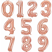 32 inch Rose Gold 0-9 Number Foil Helium Balloons Birthday Wedding Party Decoration Celebration Supplies(China)