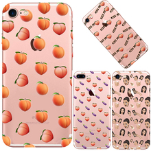 Peach Eggplant Emoji Case For iphone 6 6S 7 Plus Transparent Clear Silicone TPU Cell Phone Back Cover Cases Fundas Coque