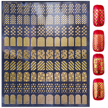New Arrive Gold Nail Stickers,108pcs/sheet Top Quality Mix Design Adhesive Metallic Nail Decals,DIY Nail Tips Decoration Tools
