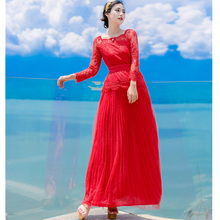 Real Photos 2017 New Summer High Quality Lace Red White Long Dress Elegant Luxury Romantic Beach Maxi Dresses for Vacation Party