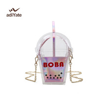 ADIYATE Women Personality Funny Cola Bottle Bag Transparent Bag Unique Funny Coffee Cup Bag Ladies Purse Clear Beach Bags Cheap(China)